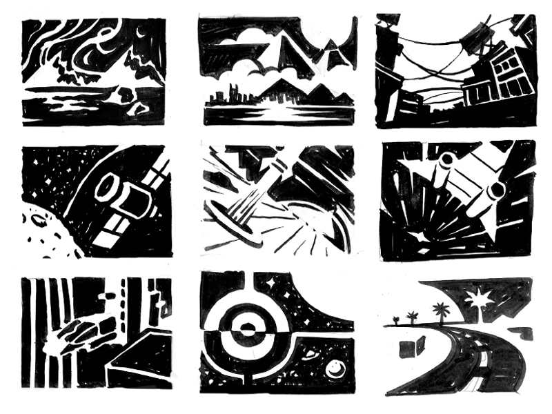 I took pocket sketchbook and filled up all the pages with thumbnails. I really like the 50/50 ratio of negative positive in each piece. Great exercise to build effective compositions.