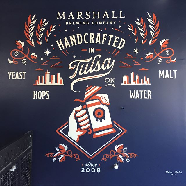 I had the pleasure to create and work with @erik.m.hunter to paint a mural at @marshallbrewing new taproom in the works. The words Yeast, Hops, Water & Malt will have descriptions underneath with interactive 3D objects on the wall. Thanks to @edm1077 for having us and can't wait to see the rest of the space some together. 🍻✨