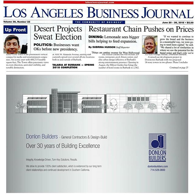 Has anyone checked out this weeks @labusinessjournal with the Who's Building LA section? Page 9 has a nice ad!