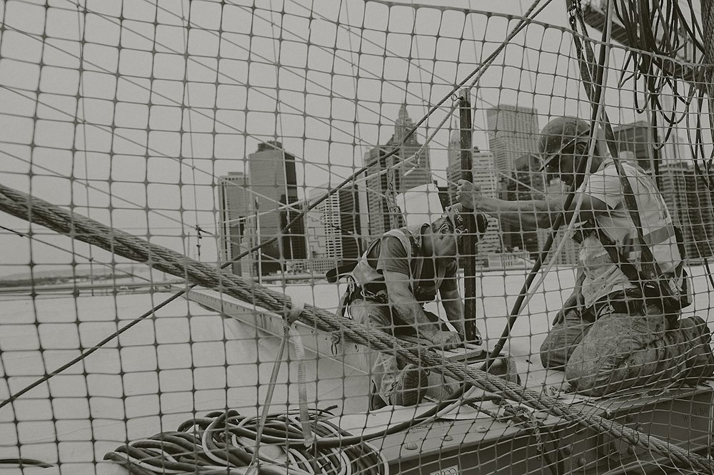 Workers Brooklyn bridge