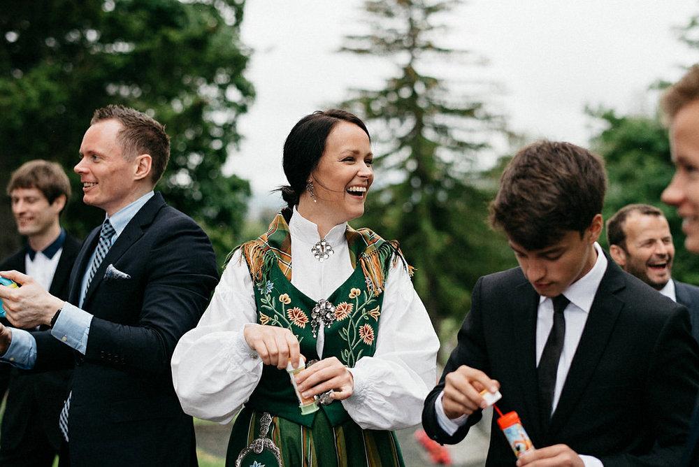 Wedding guests having fun