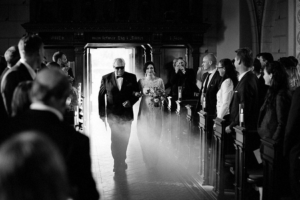 Bride coming in to the church