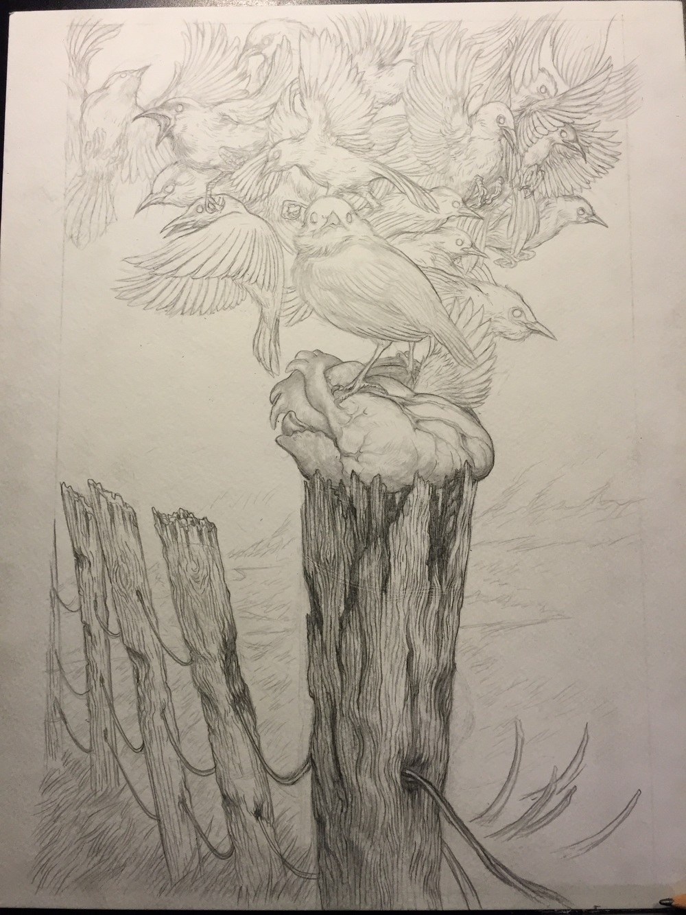 Final pencil work before inking