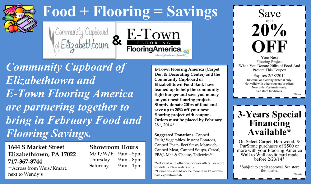 2014-02 February Food Drive Website Ad - E-Town Flooring.png