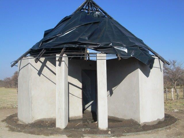 The front view of construction at Ngamo School.