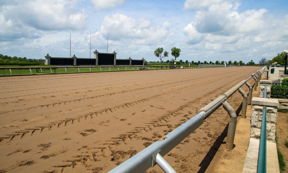 Lexington Kentucky. USA. June 1 2015. Keeneland racetrack in Lexington Kentucky prepares to host the 2015 Breeders Cup. Keeneland is considered to be the premier horse racing facility in the US.