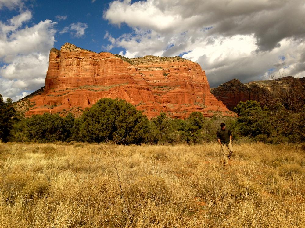 Luke intertwining with the picturesque, roadside Red Rocks of Sedona, Arizona.