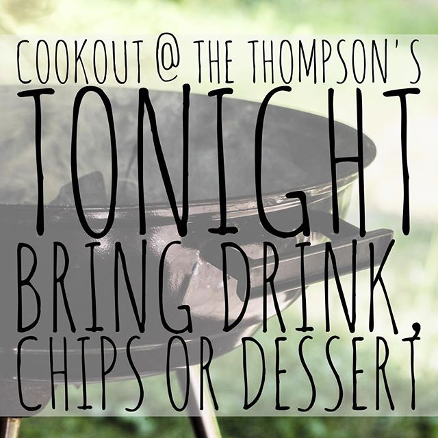 ALL AGES COOKOUT (minis-students) tonight! You may want to bring a lawn/bag chair. Hamburgers and hotdogs will be provided. #fusionfamily