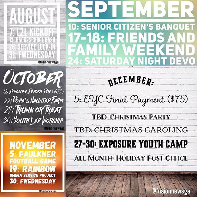 Mark your calendars! It's going to be a great fall. Sign up sheets are on the youth board! #fusionfamily #fusionstudents