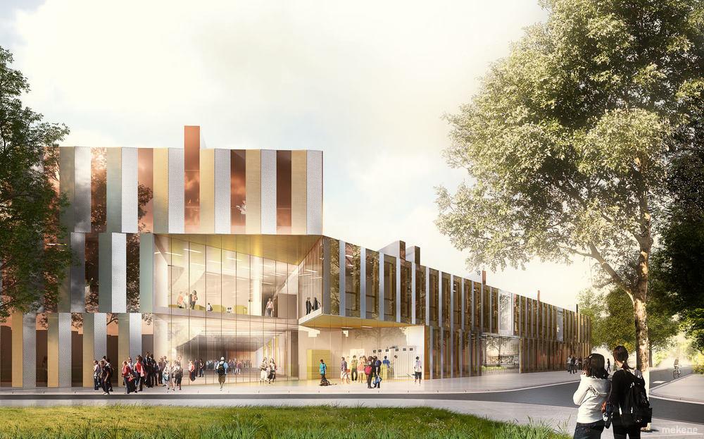 Image de synthèse concours architecture collège vue depuis le parvis