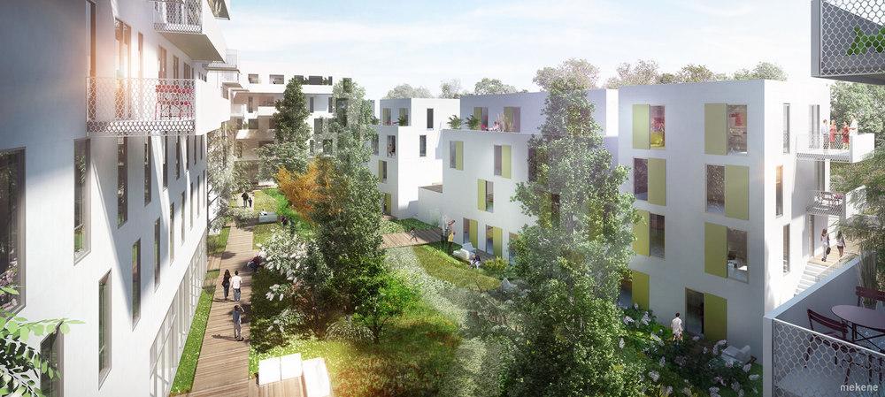 image de synthese projet concours logement végétation