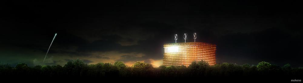 Vue de nuit projet architecture décollage fusée ariane en fond