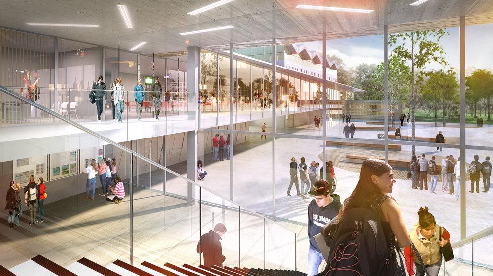 Perspective intérieure du hall - concours lycée