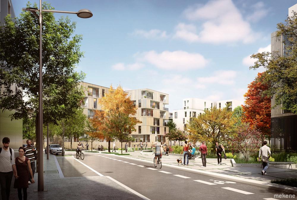 Perspective d'ambiance montrant les immeubles de logements enserrant le jardin.