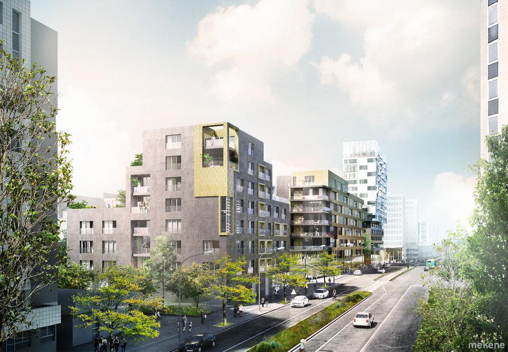 Vue des logements au premier plan, puis au second plan les bureaux et enfin la tour accueillant la résidence.