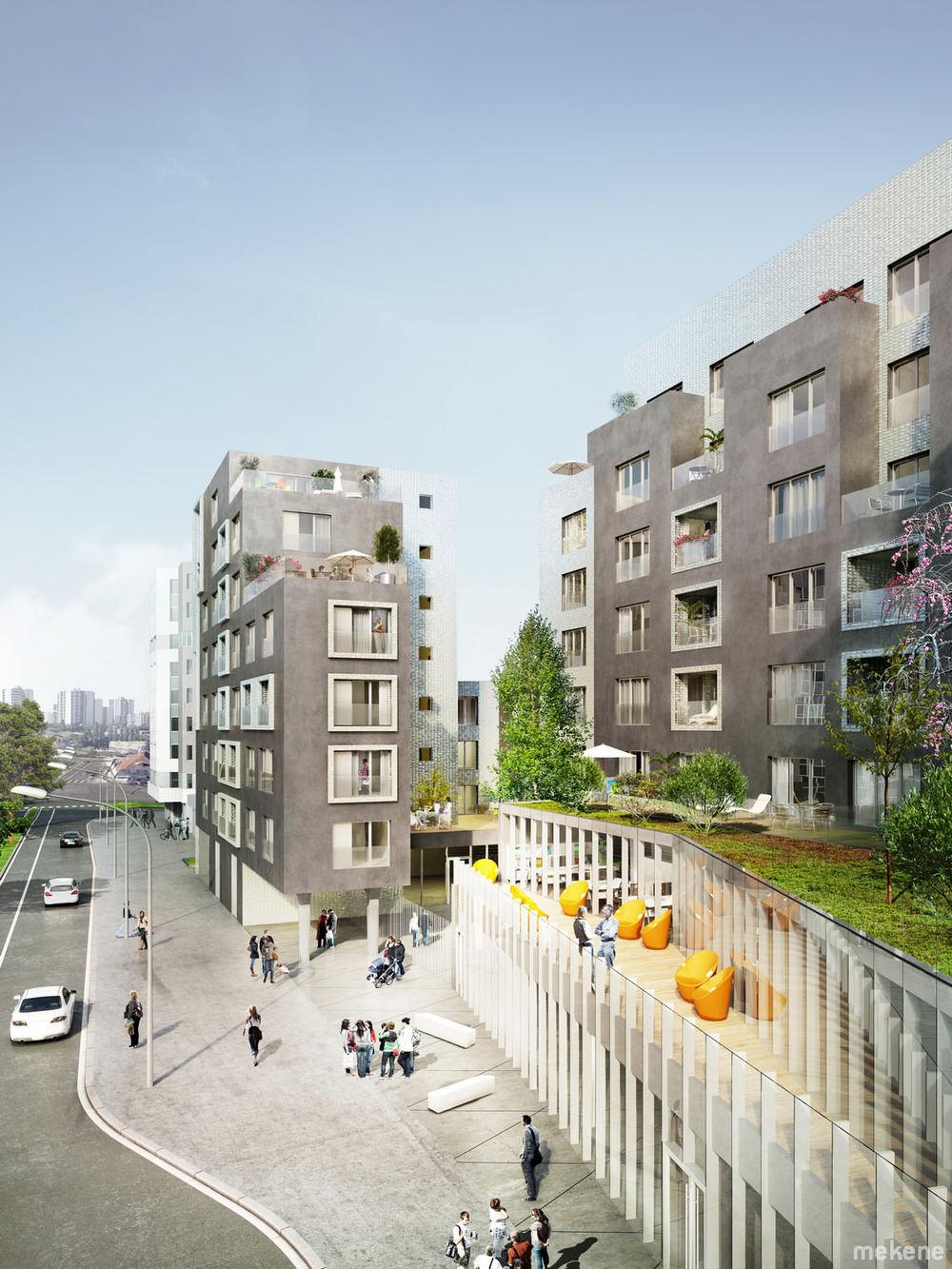 Vue des logements. Au premier-plan la terrasse des espaces de travail partagés