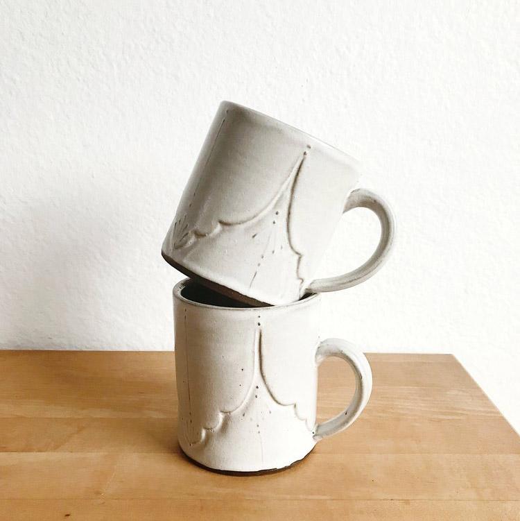 White Ceramic Boho Mug   $42.00
