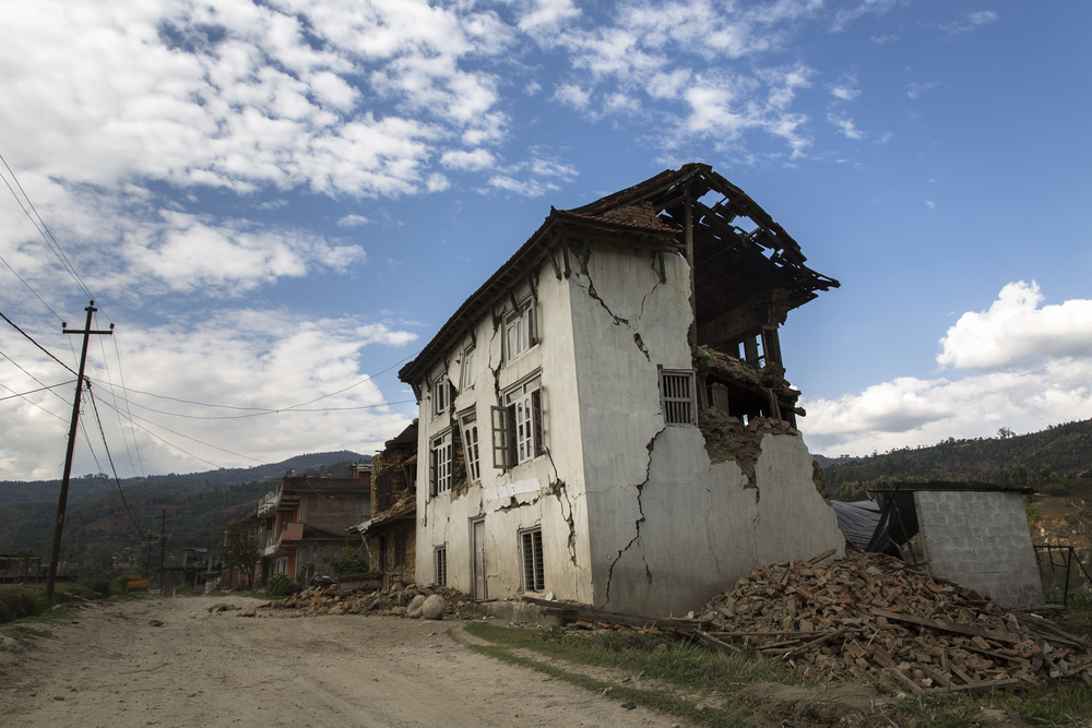Some of the few buildings that remained standing in Sipa Ghat, Nepal.