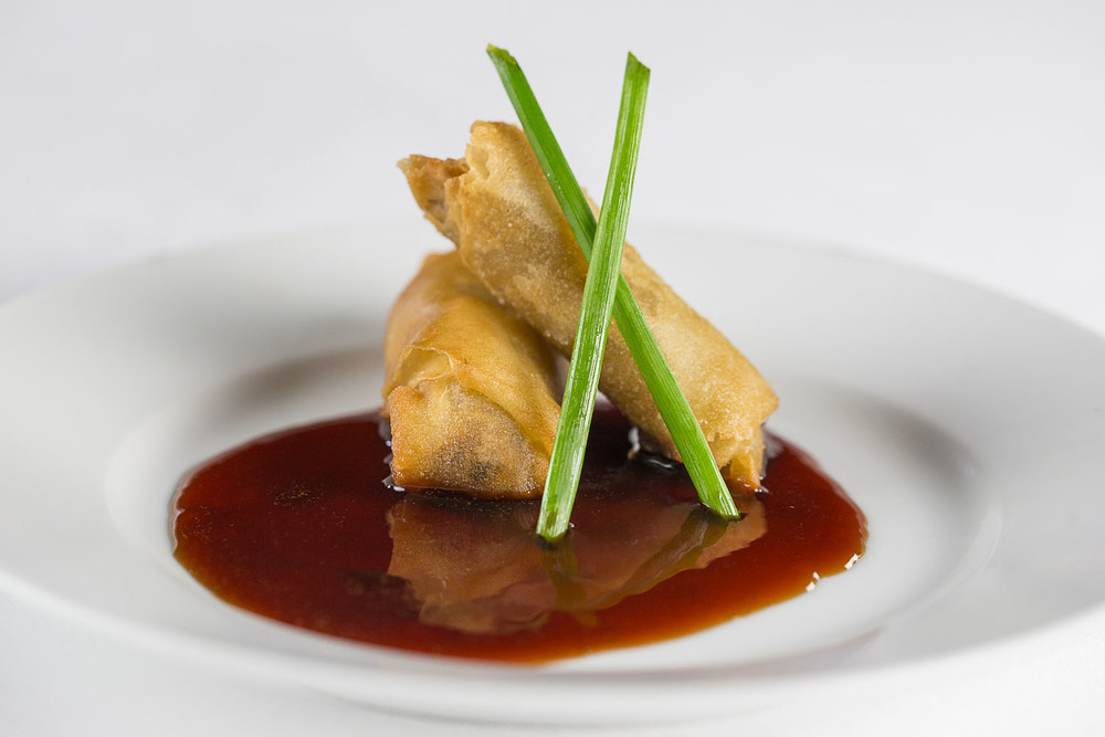 Baby Back Rib Meat Spring Rolls, flash fried,  Cheerwine  reduction