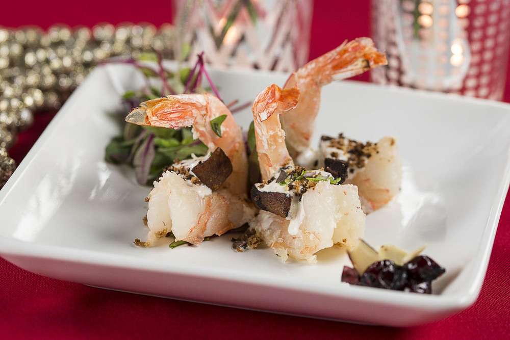 Shrimp Rockefeller, broiled shrimp, pork belly, herb cream sauce