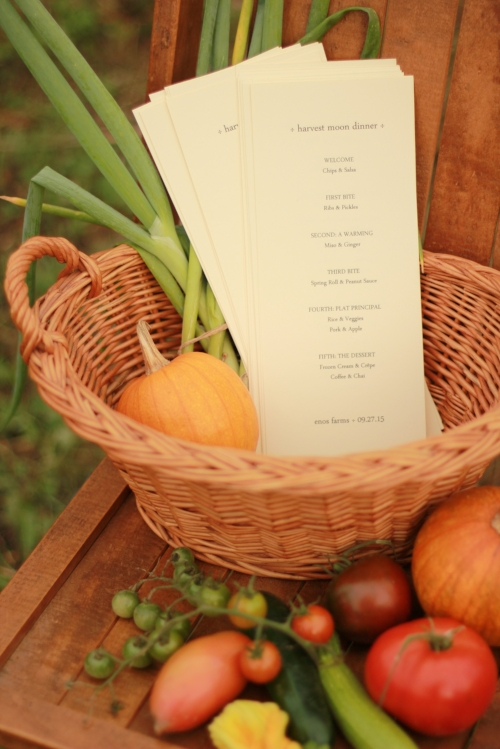 Menu with Enos Grown Veggies