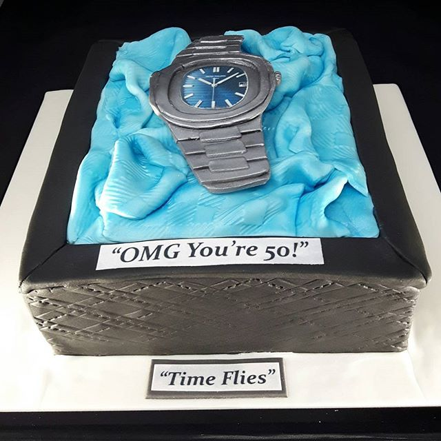 Patek Philippe Watch Birthday Cake #watchcakes #patekphilippe #celebrationcakes #solihullcakemakers #shirleycakemaker #peartreecakessolihull  #peartreecakeco #50thbirthdaycake
