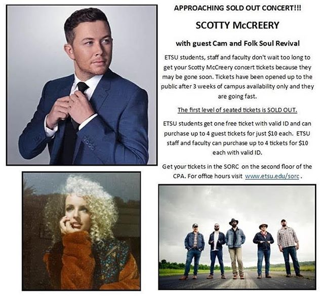 Better get those tix to see us with @scottymccreery and @camcountry at Freedom Hall on 4/12!! #folksoulrevival #independentartist #etsuconcert #scottymccreery #cam