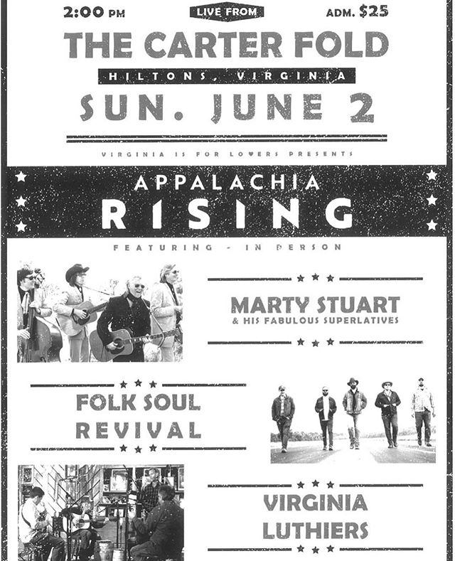 Howdy, friends! We are so excited about this show with @martystuart Virginia Luthiers at @carterfold on 6/2! #folksoulrevival #independentartist #carterfamilyfold #martystuartandhisfabuloussuperlatives