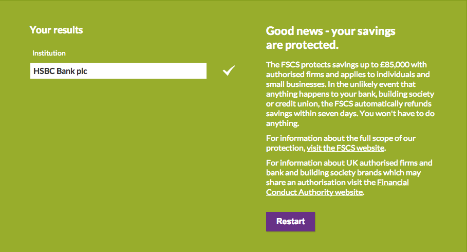 We designed the Protection Checker to be intuitive with a predictive bank name field.