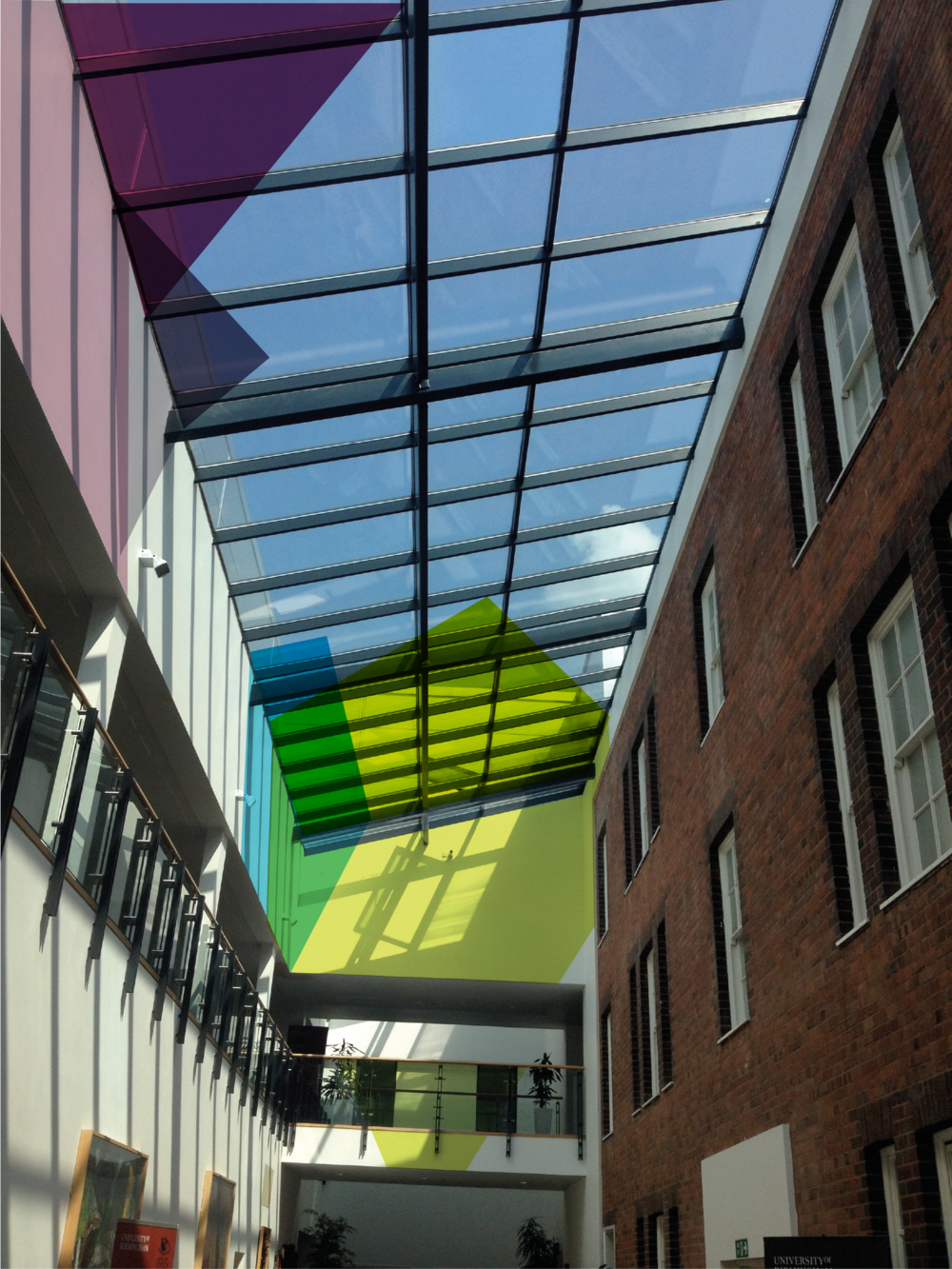 Visualisation of proposed vinyls for glass ceiling of the atrium.