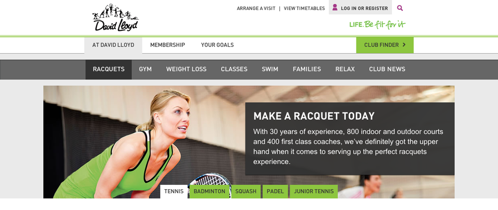 The activity landing pages under the 'At David Lloyd' menu item.