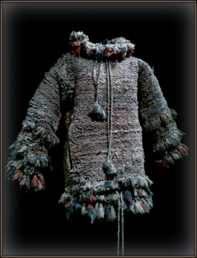 Suit woven from used rags by Giuseppe Versino (1882-1963), who suffered from early dementia and worked as a janitor in Italy. He frequently wore the pieces of clothing he made. Each weighed 70 to 100 pounds.