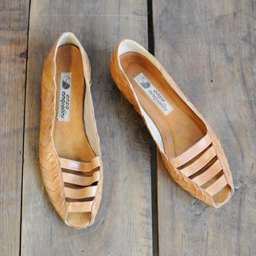 Braided Leather Peep Toe Wedges // Dethrose Vintage