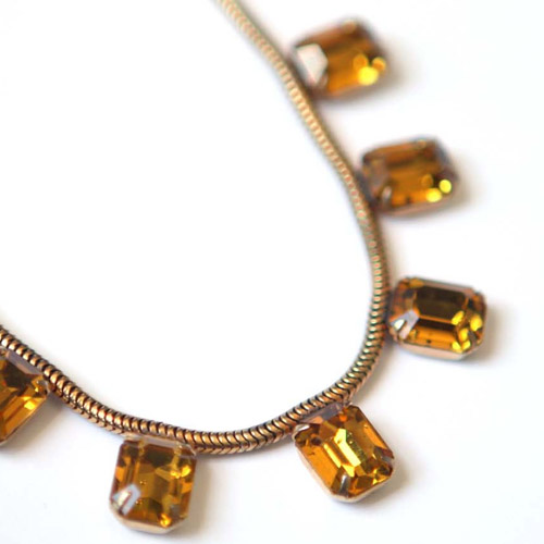 Yellow Topaz Rhinestone Necklace // Persnickety Vintage