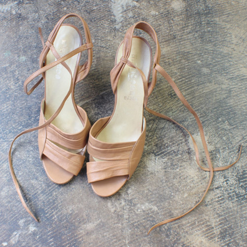 Nude Leather Strappy Heels // Southwest Vintage