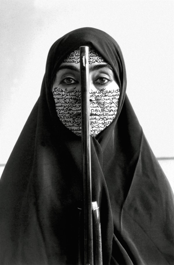 Shirin Neshat:  Rebellious Silence,  1994, RC print and ink