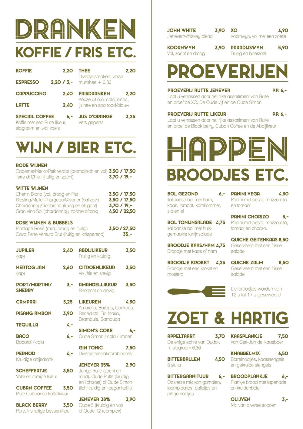 Binnenwerk menukaart  Café Scheffers