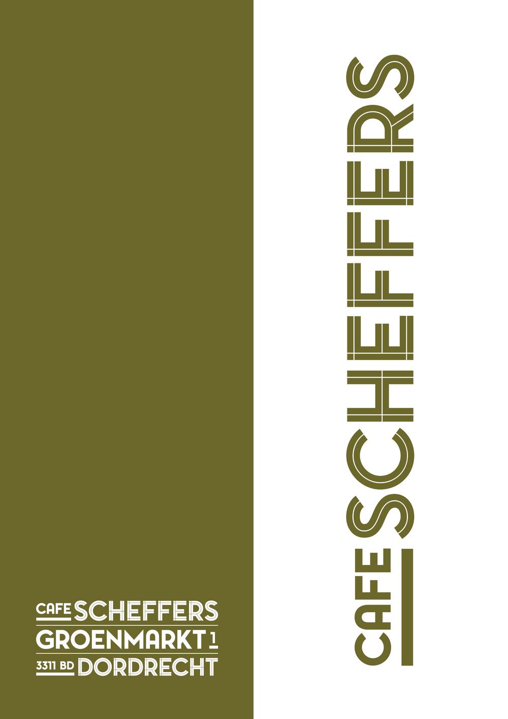 Omslag menukaart  Café Scheffers