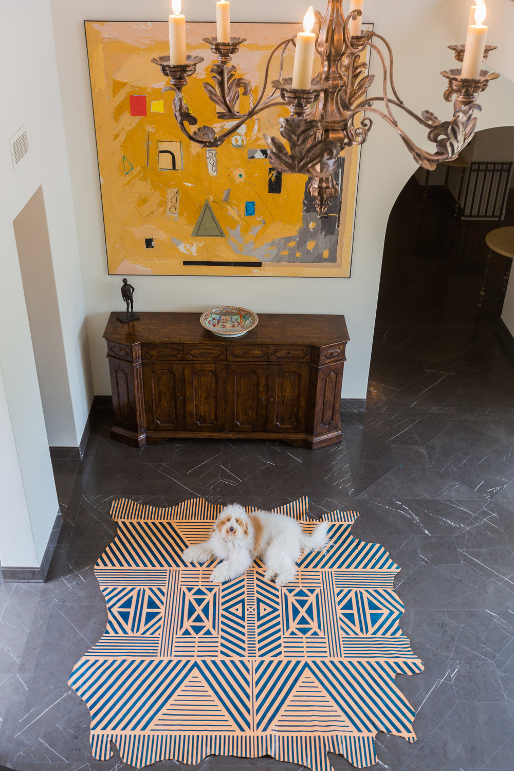 Item Full Cowhide Rug | Pattern Chi Chi | Color Indigo on natural| Image from SDK Photo