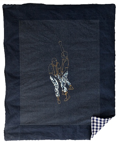 "Flash Guard by Jacob Rhodes |  Denim, Gingham, Embroidery Floss | 72"" x 84"""