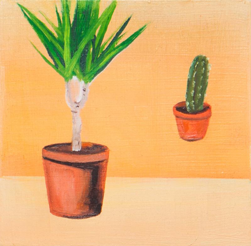 "Untitled Plants by Jill Silverberg | Oil on Panel | 3"" x 3"""
