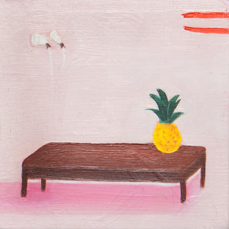 "Untitled Pineapple by Jill Silverberg | Oil on Panel | 4"" x 4"""