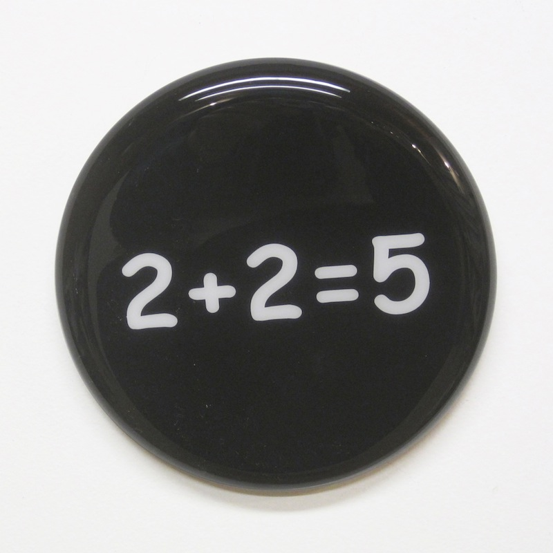 "2+2=5 by Jay Kaplan | MDF, Enamel, Vinyl, Resin | 8"" (available individually or as installations)"