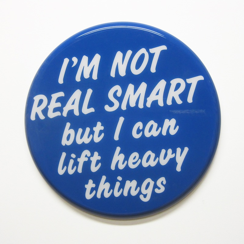 "Not Real Smart by Jay Kaplan | MDF, Enamel, Vinyl, Resin | 8"" (available individually or as installations)"