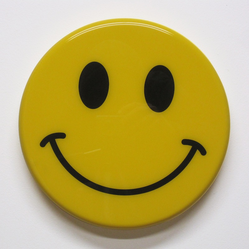 "Happy Face by Jay Kaplan | MDF, Enamel, Vinyl, Resin | 10"" (available individually or as installations)"