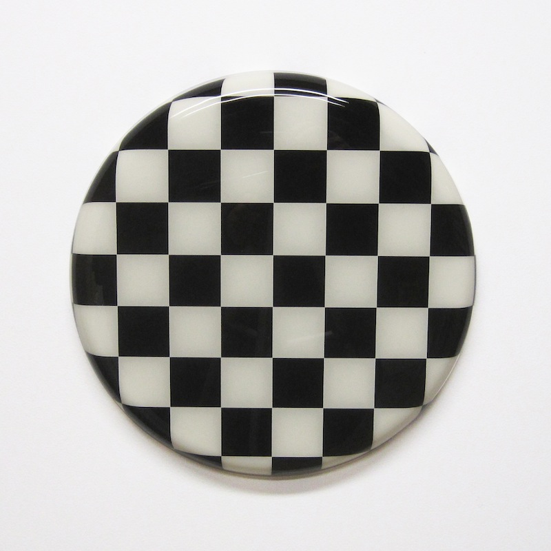 "Checkers by Jay Kaplan | MDF, Enamel, Vinyl, Resin | 12.5"" (available individually or as installations)"