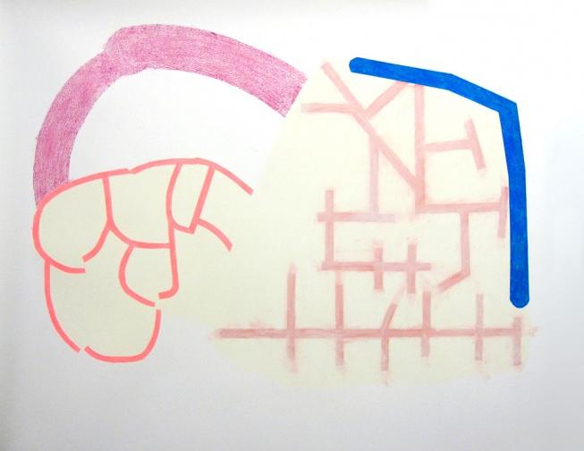 Smoked Out,2012, Conté et pastels à l'huile sur papier s, 50 x 55 ''