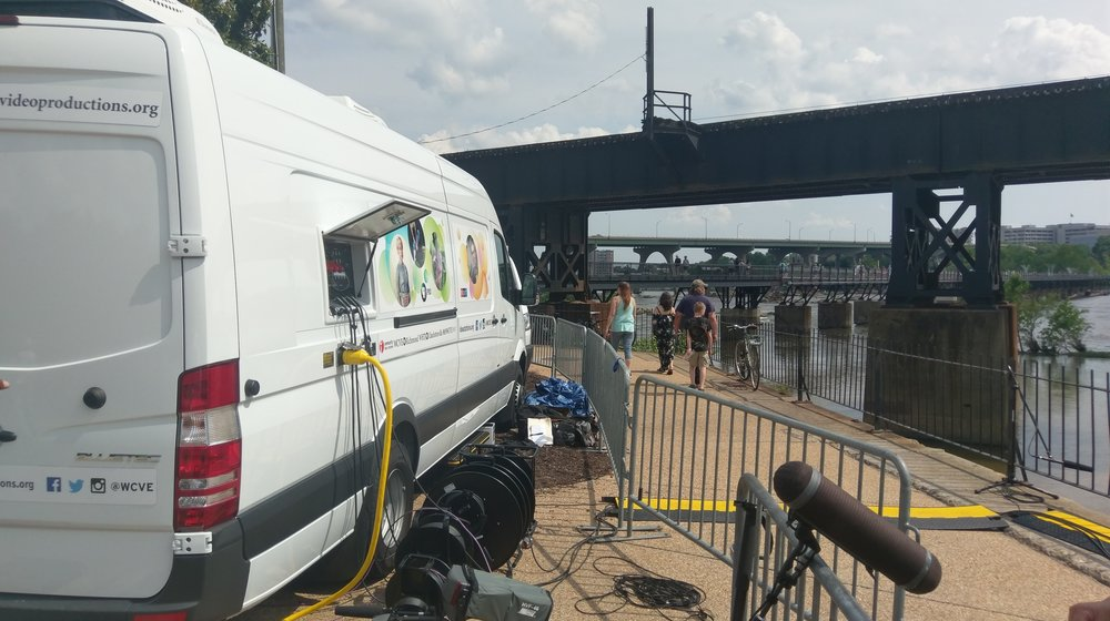 2018 RVA's Festival of the River  Looking South from Brown's Island Festival site toward the James River, Train trestle, Manchester Bridge and Pedestrian walkway to Belle Isle.  Photo credit: Mark Helfer, WCVE Video Productions