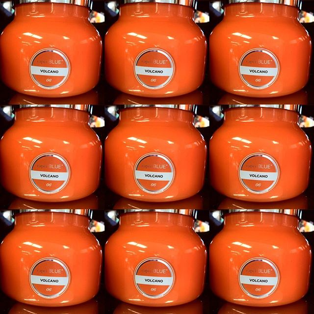 CAPRI BLUE, VOLCANO CANDLES HAVE ARRIVED, 4 DIFFERENT JAR COLORS ( RED, WHITE, TURQ. & ORANGE). WHAT COLOR DO YOU WANT?
