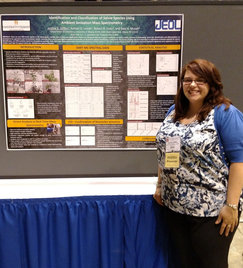 Justine presenting her poster at ASMS 2015.